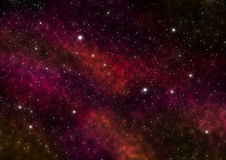 Night Sky with Stars and Red Nebula. Space Background. Large image. Royalty Free Stock Images