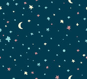 Night sky with stars. Seamless vector pattern stock illustration
