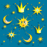 Night sky with stars, sun, crown and moon. Baby background. Vector illustration Royalty Free Stock Photos