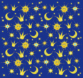 Night sky with stars, sun and moon. Baby background. Vector illustration Royalty Free Stock Image