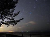 Night sky stars Taurus constellation Pleiades observing stock image
