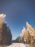 Night sky with stars in the winter night with trees. vintage Royalty Free Stock Photos