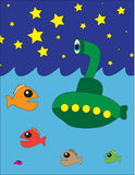 Night Sky Submarine. Vector illustration of a submarine in the ocean with some fish and night sky Stock Images