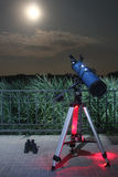 Night sky telescope in public park Royalty Free Stock Photography