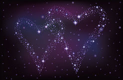 Night sky with two stars hearts. Illustration Stock Images
