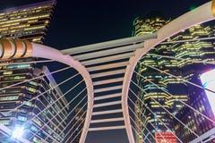 Night Sky Walk View At Bangkok Skytrain Station Stock Photo