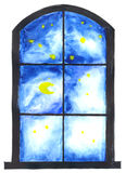 Night sky through window Royalty Free Stock Photo
