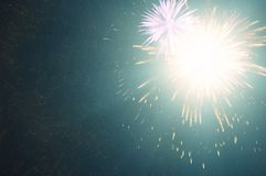 Night Sky With Bright Multiple Fireworks Royalty Free Stock Photography