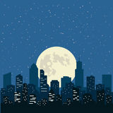 Night sky with yellow Moon over the city, illustration. stock illustration