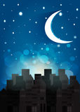 Night skyin in sity. Vector. Royalty Free Stock Images