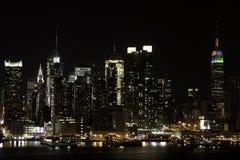 Night Skyline. A photo of Midtown Manhattan taken at Night showing the beautiful skyline stock photography