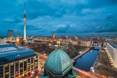 Night skyline of Berlin Royalty Free Stock Images