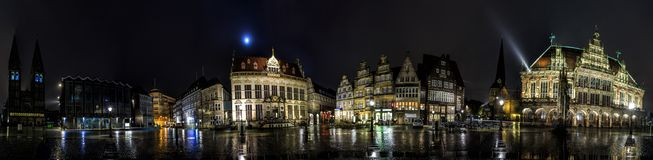 Night Skyline of Bremen main market square Royalty Free Stock Photos