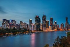 Night skyline of Brisbane city and Brisbane river from Kangaroo Point royalty free stock photos