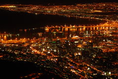 Night skyline of Cape Town Stock Images