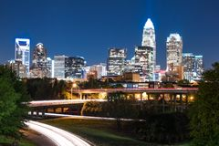 Night skyline of Charlotte North Carolina royalty free stock photos