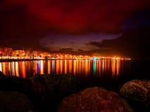 Night Skyline Of City On The Seaside Stock Photo