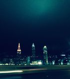 Night Skyline. The skyline of Cleveland at night time from the freeway Stock Photography
