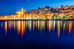 Night skyline of colorful village Menton in Provence Stock Photo