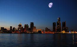 Night skyline Detroit Stock Image