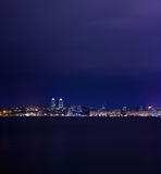 Night Skyline of Dnipropetrovsk over the river Dnipro, Ukraine Royalty Free Stock Photos
