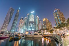 Night skyline of Dubai Marina - UAE Royalty Free Stock Image
