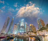 Night skyline of Dubai Marina - UAE Royalty Free Stock Photography