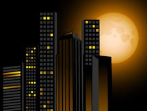 Night skyline and full moon Royalty Free Stock Photo