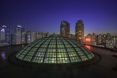Night skyline and glass dome, Lotte Hote Stock Photo