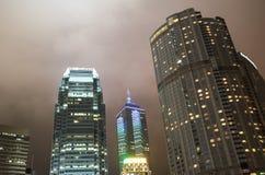 Night skyline of Hong Kong from street level Stock Photos