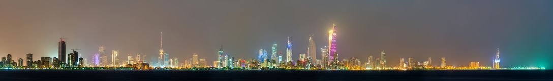 Night skyline of Kuwait City. The capital of Kuwait, a Persian Gulf country stock photos