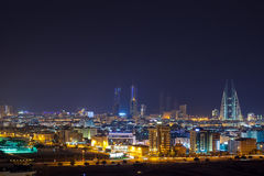 Night skyline of Manama, the Capital city of Bahrain Stock Image