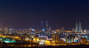Night skyline of Manama, the Capital city of Bahrain Stock Photography