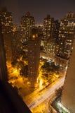 Night skyline of New York City. Night skyline of Manhattan in New York City on a clear summer night stock photos