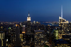 Night skyline in New York Royalty Free Stock Images