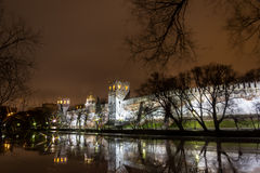 Night skyline,Novodevichy convent Stock Photos