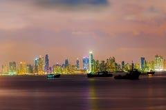 Night skyline over Panama city in Panama. Royalty Free Stock Image