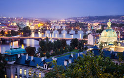 Night skyline of Prague Royalty Free Stock Photography