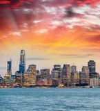 Night skyline of San Francisco from Treasure Island.  royalty free stock photos