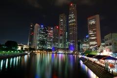 Night skyline of Singapore Stock Photos