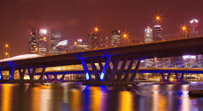 Night skyline Singapore marina bay Stock Photography