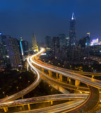 Night skyline view of Shanghai city and highways with car lamp t Stock Image