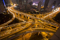 Night skyline view of Shanghai city and highways with car lamp t Stock Images