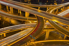 Night skyline view of Shanghai city and highways with car lamp t Royalty Free Stock Photography