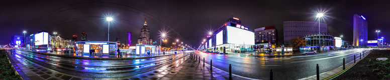 Night skyline of Warsaw Stock Images