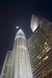 Night skyscraper Petronas Stock Photos