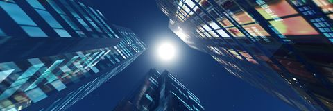 Night skyscrapers Royalty Free Stock Image