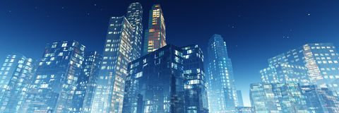 Night skyscrapers Royalty Free Stock Images