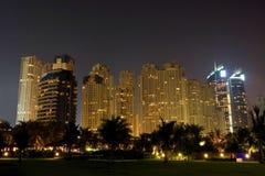 Night skyscrapers of Dubai stock image