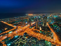 Night skyscrapers in Dubai, United Arab Emirates. Amazing night skyscrapers at the Sheikh Zayed Road in Dubai, United Arab Emirates stock images